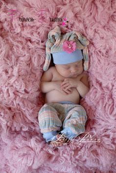 Mädchen Strick Set rosa/blau Mütze mit Blume & Hose