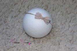 NHB Schleife tan/braun, Perlen ivory auf Naturband