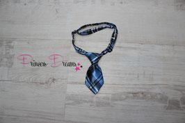 Mini Krawatte neu blau/karriert 10x5cm