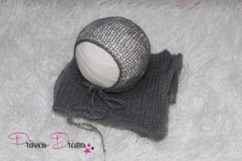 Set Mohair: Mütze & Wrap dunkelgrau