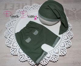 Set Knotenmütze & Hose grün* Boys 0-2 Monate