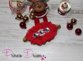 XMAS Weihnachtsband Goldglitzer Blume rot