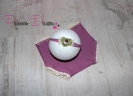 Mädchen 2er Blumen Set plum HB & Rüschen-Hose