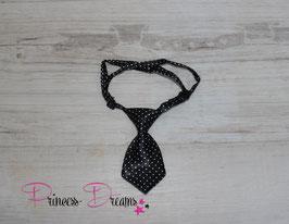 Mini Krawatte schwarz/ Dots weiß 10x5cm