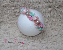 Blumenkranz zum BINDEN! rosa/mint & Perlen