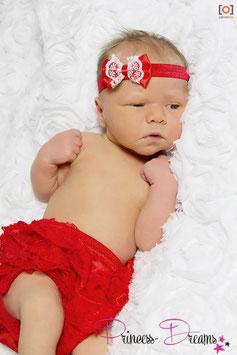 Haarband Schleife rot mit Spitzen weiß