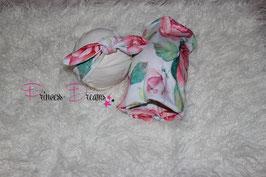 Set Flower: Jerseytuch & HB weiß/pink
