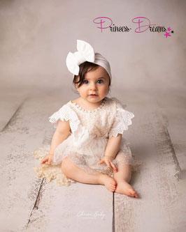 Rüschen-Romper off white für Sitzkinder  ab 9- ca. 15 Monate