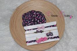 Set: Jersey-Pucktuch flower lila & HB Set