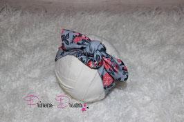 Schleifen-Stirnband ab KU40 grau /blau - Flowers