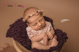 Blumenkranz zum Binden ab Newborn abrikot/braun mit Perlen