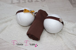 Set Pucktuch braun & zwei x Haarband Perle braun/Schleife Senf