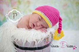 Mütze mit Blume pink/gelb bis KU39cm