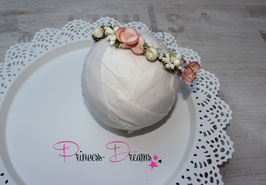 Blumenkranz für Newborn echtes Moss, Beeren & Perlen rosa