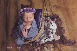Blumenkranz zum Binden ab Newborn viele Blumen flieder