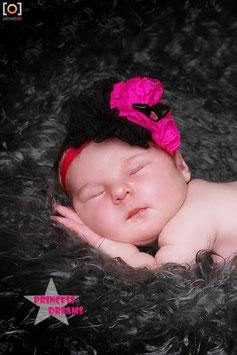 VHB420 Rüschenblumen pink/schwarz