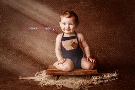 Strick Latzromper Blau Braun Sitzkinder  ca. 6-12 Monate