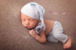Set Knotenmütze & Hose babyblau Boys 0-2 Monate Flicken