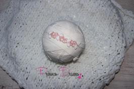 SHB Mohair Blumen Vintage rosa/weiß