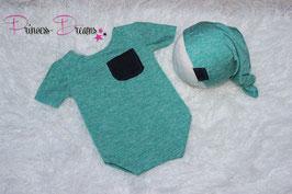 Set kurzarm Romper & Mützchen grün meliert / Brusttasche jeans 0-2 Monate