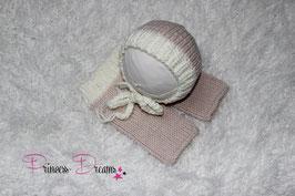 Häkel-Set für Neugeborene Mädchen Hose+Mütze creme/pastellrosa