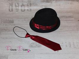 X-mas SET Hut & Krawatte für große Jungs 1 -ca. 6 Jahre schwarz/rot