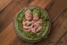 Twin-Spar Set Knotenmütze & Overall beige/grün Boys 0-2 Monate