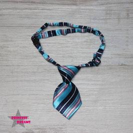 Mini Krawatte 10cmx5cm blau/weiß/ zart rosa gestreift