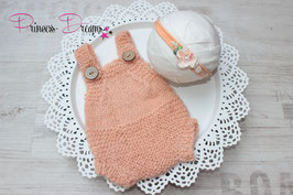 Set Mohair: Overall mit Haarband aprikot