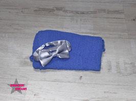 SET5 Wickeltuch & Satin Fliege kobaltblau/grau