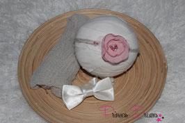 Set 16 SHB Altrosa Blume, Wickeltuch taupe, Satin Fliege ivory