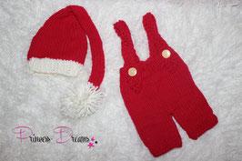 Strick Set Santa Claus Set Newborn Trägerhose & Bommelmütze