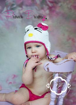 """Mütze """"Kätzchen"""" ab 3 Monate weiß mit Schleife pink"""