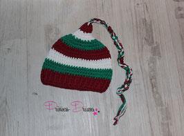 X-Mas Weihnachtsmütze grün/weinrot/weiß gestreift