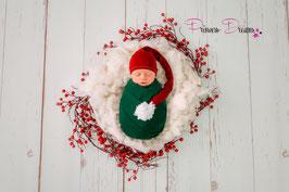 X Mas Weihnachtsmütze lang Bommelmütze Mütze weinrot/weiß Newborn genäht