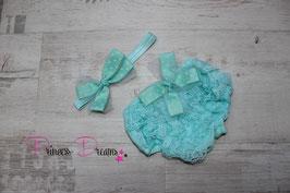 SET aqua/mint: Haarband & Rüschenhose m. Schleife