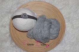 Set 11:  Neu! Strick-Mohair Musterwrap grau & SHB grau