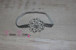 HB120 Glitzer Pailetten-Blume silber/grau