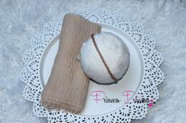 Set Musselin Fransentuch natur/nude & Perlen Haarband tan/braun