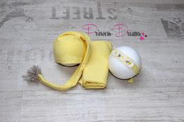 Sets Tuch,HB & Zipfelmütze/Bommelmütze Mütze gelb Newborn genäht Newborn-ca. 2 Monate