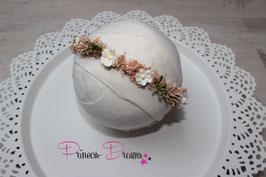 Blumenkranz zum Binden ab Newborn aprikot/creme