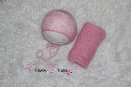 Set Mohair: Mütze & Wrap rosa