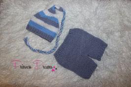 Strick set blau/grau/weiß gestreift Zipfelmütze