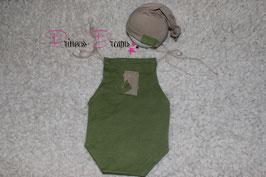 Set Knotenmütze beige & Overall grün Boys 0-2 Monate