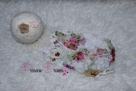 genähter Rüschen Spitzen Romper flower weiß/rosa ca. 0-2 Monate  auch mit Haarband bitte unten auswählen