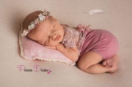 Blumenkranz zum Binden ab Newborn rosa/ivory