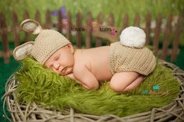 Häschen: Mütze & Hose beige
