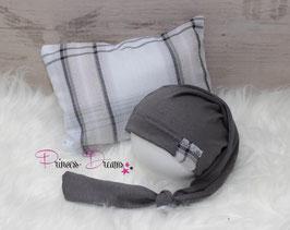 Set Pillow/Mütze grau