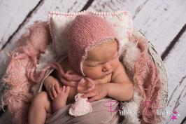 "Pillow creme/rosa Blumenlook & ""Pompom"""
