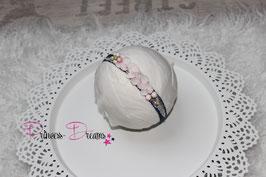 SHB Haarband Blume marine,  echte Hortensien rosa